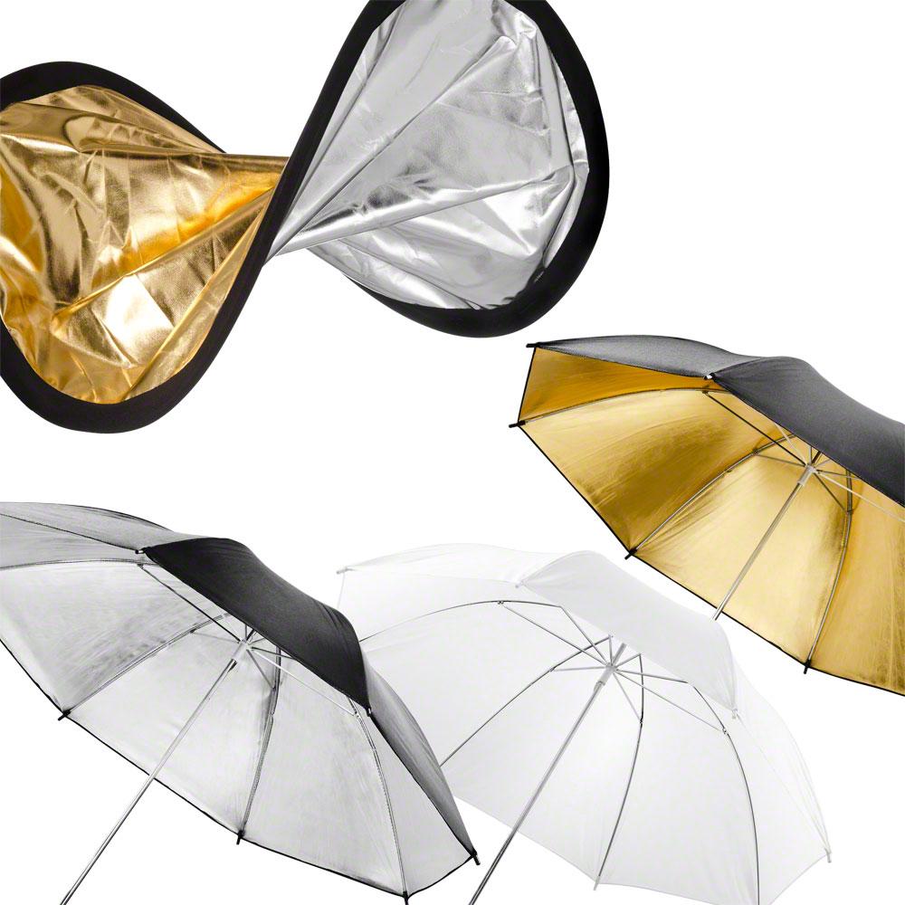 oro y plata 3 paraguas en blanco Walimex doble reflector